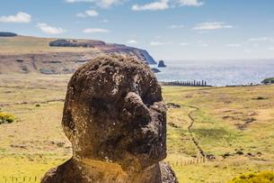 Rano Raraku, the quarry site for all moai statues on Easter Island (Isla de Pascua) (Rapa Nui)の写真素材 [FYI03769832]