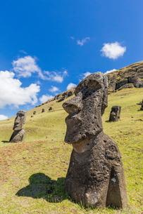 Rano Raraku, the quarry site for all moai statues on Easter Island (Isla de Pascua) (Rapa Nui)の写真素材 [FYI03769838]