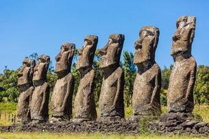 Seven Moai at Ahu Akivi, the first restored altar on Easter Island (Isla de Pascua) (Rapa Nui)の写真素材 [FYI03769852]