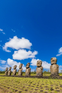 Seven Moai at Ahu Akivi, the first restored altar on Easter Island (Isla de Pascua) (Rapa Nui)の写真素材 [FYI03769859]