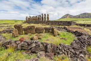 Partial moai heads  in a circle at the 15 moai restored ceremonial site of Ahu Tongariki, Rapa Nui Nの写真素材 [FYI03770056]