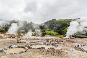 Furnas Valley, a site of bubbling hot springs and fumaroles on the Azorean capital island of Sao Migの写真素材 [FYI03770391]