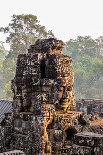 Four-faced towers in Prasat Bayon, Angkor Thom, Angkor, Siem Reap, Cambodia, Indochina, Southeast Asの写真素材 [FYI03770449]