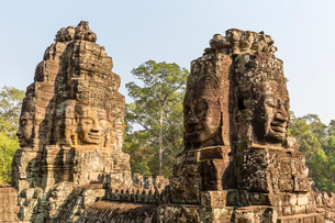 Four-faced towers in Prasat Bayon, Angkor Thom, Angkor, Cambodia, Indochina, Southeast Asiaの写真素材 [FYI03770476]