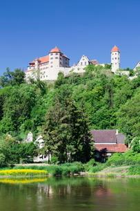 Harburg Castle at Wornitz River, Harburg, Romantic Road, Bavarian Swabia, Bavariaの写真素材 [FYI03771421]