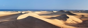 Panorama of the sand dunes of Maspalomas, Maspalomas, Gran Canaria, Canary Islands, Atlanticの写真素材 [FYI03772467]