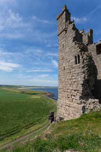 Ruins of Dunstanburgh Castle, overlooking fields and Embleton Bay, Northumberlandの写真素材 [FYI03772592]