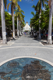 View along palm lined avenue to courthouse with pavement map of the island, Philipsburg, St. Maartenの写真素材 [FYI03772863]