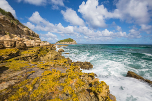 The waves of the Caribbean Sea crashing on the cliffs, Half Moon Bay, Antigua and Barbuda, Leeward Iの写真素材 [FYI03773128]