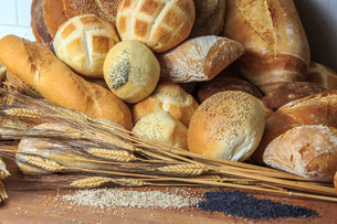 Pile of typical Italian bread, Lombardyの写真素材 [FYI03773175]