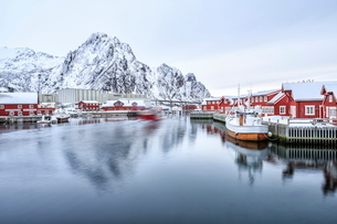 Port of Svolvaer with its dark red houses on stilts typical of each port in the Lofoten Islands, Arcの写真素材 [FYI03773188]