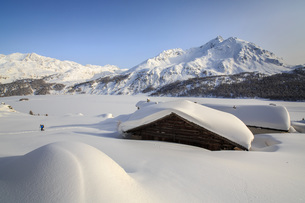 Some Spluga huts near the Maloja Pass submerged by meters of powder snow on a clear winter day, Grauの写真素材 [FYI03773215]