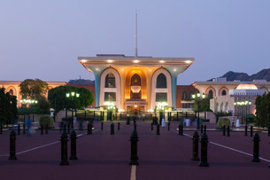 Sultan Qaboos Palace, Old Muscat, Muscat, Oman, Middle Eastの写真素材 [FYI03773556]