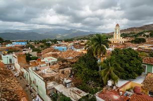 An elevated view of the terracotta roofs and the bell tower of the Museo Nacional de la Lucha, formeの写真素材 [FYI03774061]