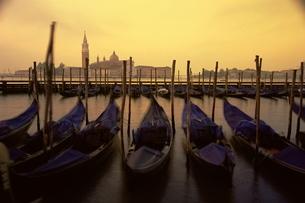 Row of gondolas at dawn, San Giorgio Maggiore, Venice, Venetoの写真素材 [FYI03774113]