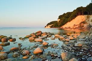 Sunrise at the chalk cliffs, Jasmund National Park, Ruegen Island, Mecklenburg-Vorpommernの写真素材 [FYI03774548]