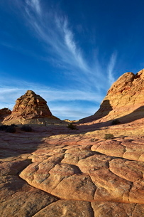 Sandstone formations with clouds, Coyote Buttes Wilderness, Vermilion Cliffs National Monument, Arizの写真素材 [FYI03776274]