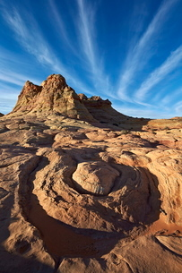 Sandstone formations with clouds, Coyote Buttes Wilderness, Vermilion Cliffs National Monument, Arizの写真素材 [FYI03776277]