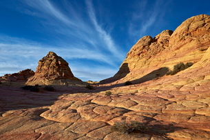 Sandstone formations with clouds, Coyote Buttes Wilderness, Vermilion Cliffs National Monument, Arizの写真素材 [FYI03776278]