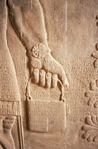 Close up of carved relief, Nimrud, Iraq, Middle Eastの写真素材 [FYI03776906]