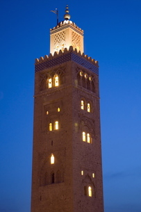 Minaret of the Koutoubia Mosque, Marrakechの写真素材 [FYI03776941]