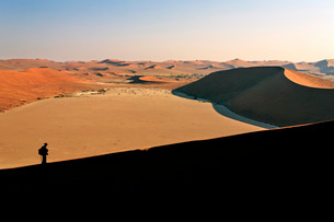 Profile of a hiker on the sand dune shaped by the wind, Deadvlei, Sossusvlei, Namib Desert, Namib Naの写真素材 [FYI03777188]