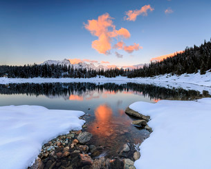 The colors of dawn on the snowy peaks and woods reflected in Lake Palu, Malenco Valley, Valtellina,の写真素材 [FYI03777273]