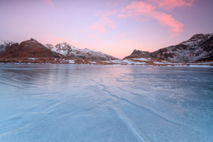 Pink lights of dawn on the snowy peaks around the frozen surface of Andossi Lake, Spluga Valley, Valの写真素材 [FYI03777278]