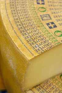 Large slab of Gruyere Cheese, The Netherlandsの写真素材 [FYI03777620]