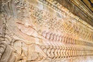 Churning of the Sea of Milk Gallery at Angkor Wat temple, Siem Reap Province, Cambodia, Indochina, Sの写真素材 [FYI03777781]