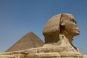 The Sphinx and the Great Pyramid in Giza, near Cairoの写真素材 [FYI03779190]