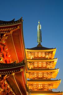 The Five Storey Pagoda at Sensi-ji Temple at night, Tokyo, Japanの写真素材 [FYI03779310]