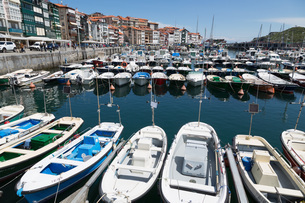 Traditional fishing boats moored in the harbour in Lekeitio, Basque Country (Euskadi)の写真素材 [FYI03779350]