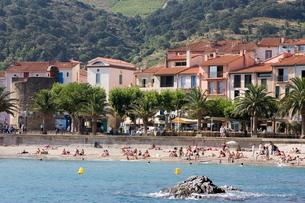 Plage de Port d'Avall, Collioure, Pyrenees-Orientales, Languedocの写真素材 [FYI03779536]