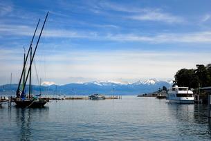 Port des Mouettes, Lac Leman (Lake Geneva), Evian-les Bains, Haute-Savoieの写真素材 [FYI03779583]