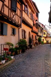 Timbered houses on cobbled street, Eguisheim, Haut Rhin, Alsaceの写真素材 [FYI03779587]