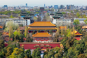 The Forbidden City in Beijing looking South taken from the viewing point of Jingshan Park, Beijingの写真素材 [FYI03779744]