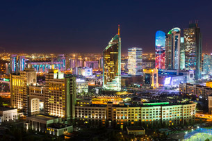 The city center and central business district at night, Astana, Kazakhstanの写真素材 [FYI03779781]