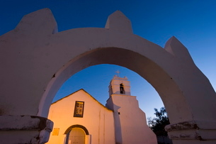Iglesia San Pedro, colonial adobe walled church dating from the 17th century, San Pedro de Atacama,の写真素材 [FYI03779819]