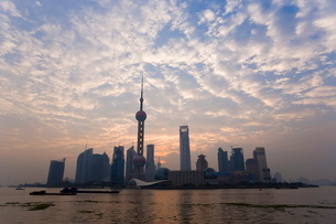 View of Oriental Pearl TV Tower and highrises in the Pudong New Area viewed across the Huangpu Riverの写真素材 [FYI03779859]