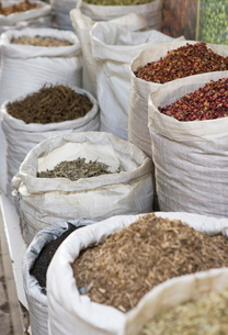 Spices for sale in the Spice Souk, Deira, Dubai, United Arab Emirates, Middle Eastの写真素材 [FYI03780254]