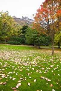 Princes Street Gardens and Edinburgh Castle, Edinburgh, Lothian, Scotlandの写真素材 [FYI03780274]