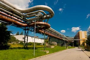 Old heating pipelines, Liptovsky Mikulas, High Tatras, Slovakiaの写真素材 [FYI03780433]