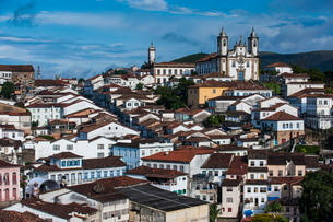 View over the colonial town of Ouro Preto, MInas Gerais, Brazilの写真素材 [FYI03780798]