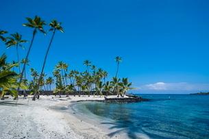 White sand beach. Puuhonua o Honaunau National Historical Park, Big Island, Hawaiiの写真素材 [FYI03780984]