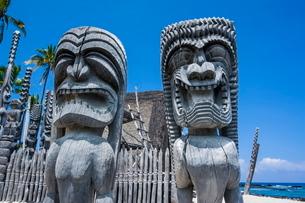 Wooden statues in Puuhonua o Honaunau National Historical Park, Big Island, Hawaiiの写真素材 [FYI03780989]