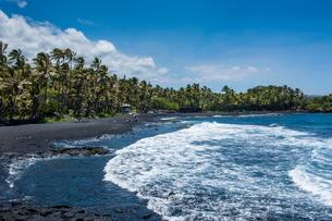 Punaluu Black Sand Beach on Big Island, Hawaiiの写真素材 [FYI03780995]