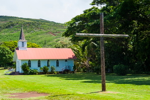 Our Lady of Seven Sorrows church, island of Molokai, Hawaiiの写真素材 [FYI03781015]