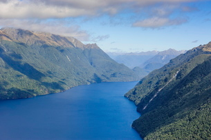 Aerial of a huge fjord in Fiordland National Park, South Island, New Zealandの写真素材 [FYI03781119]