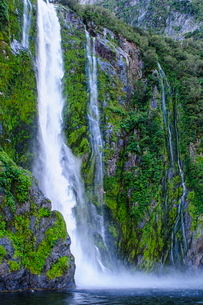 Huge waterfall in Milford Sound, Fiordland National Park, South Island, New Zealandの写真素材 [FYI03781154]